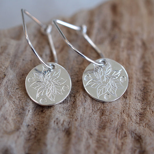 Leaf Disc Drop Earrings