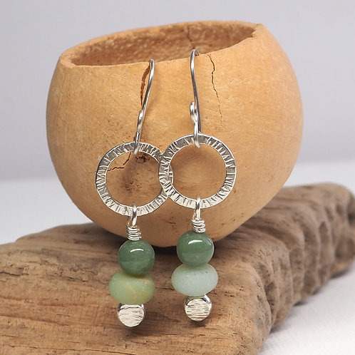 Frosted Amazonite Hoops