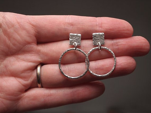 Square Stud Hoop Earrings