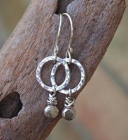 Silver Pebble Hoop Earrings
