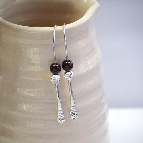 Forged rod garnet earrings