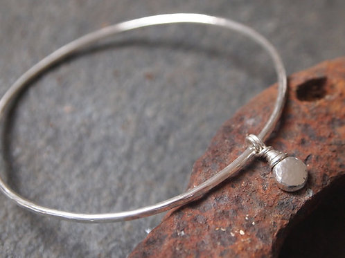 Sterling Silver Hammered Bangle with Silver Pebble Charm