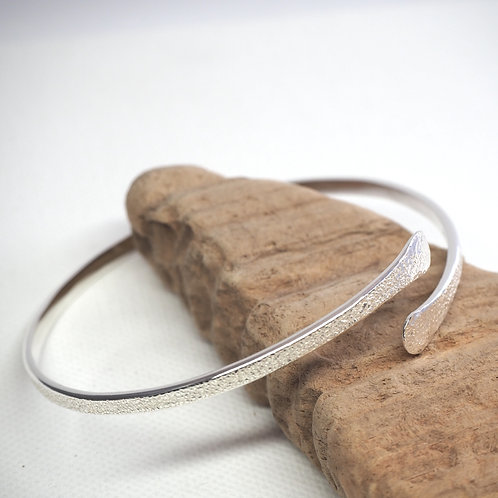 Forged Silver Textured Bangle