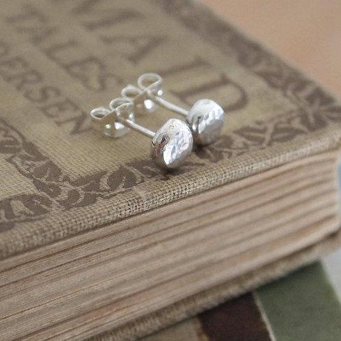 Silver Pebble Stud Earrings, Argentium Silver