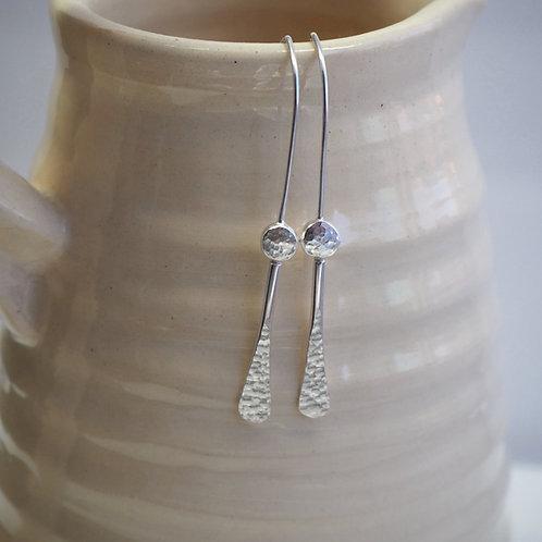 Forged rod pebble earrings