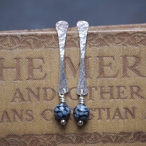 Snowflake Obsidian Forged Rod Studs