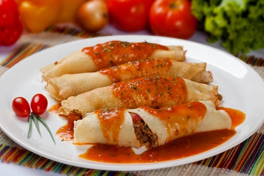 Panquecas de Carne com Molho Caseiro de Tomates + Arroz + Mix de Legumes | 350g