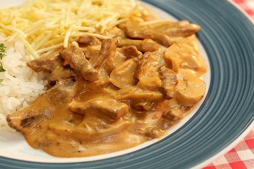 Estrogonofe de Carne + Arroz + Batata Palha   300g