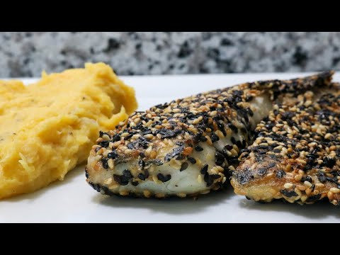 Filé de Tilápia com Crosta de Gergelim + Purê de Cenoura + Arroz 7 Grãos | 300g