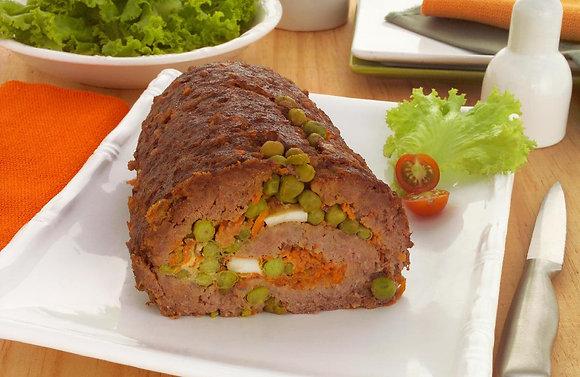 Rocambole de Carne Moída Recheado + Arroz 7 Grãos + Purê de Batata | 320g
