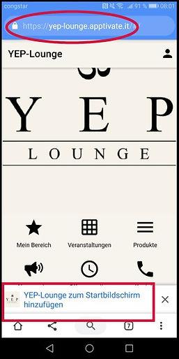 YEP Lounge auch ohne App anmelden