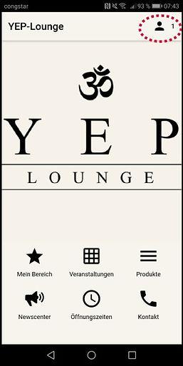 Mit der YEP Lounge App kannst Du Kurse online buchen und Dein Profile verwalten