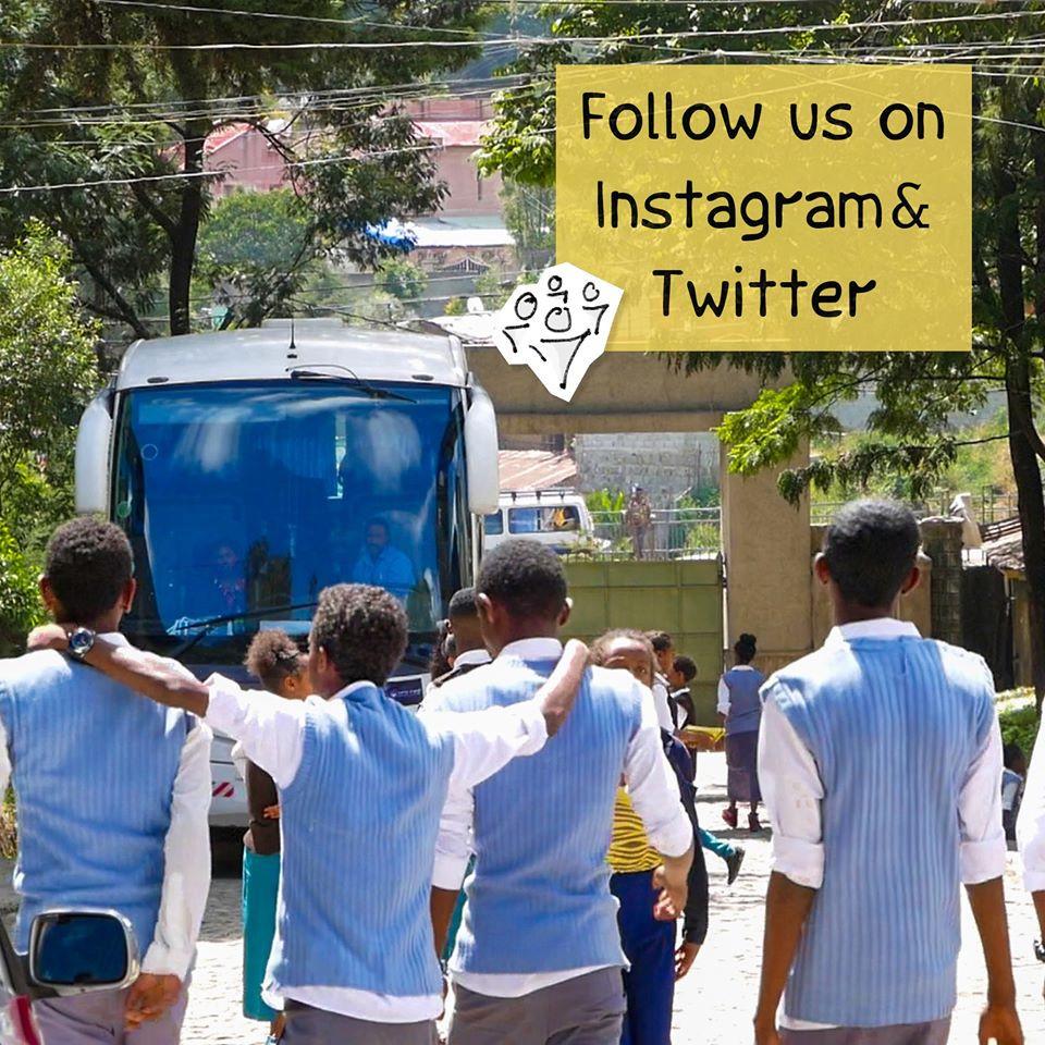 Astrobus-Ethiopia bus entering to a school entrance