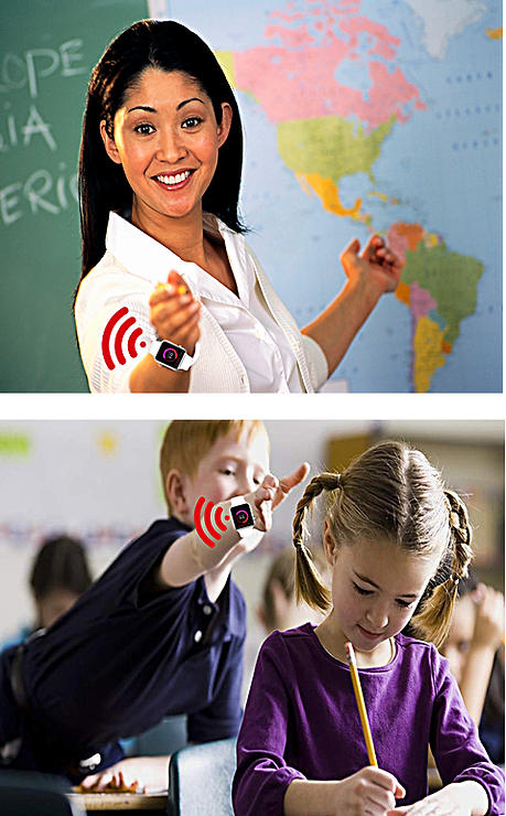 Teacher and student wear Q-ME device in the classroom.