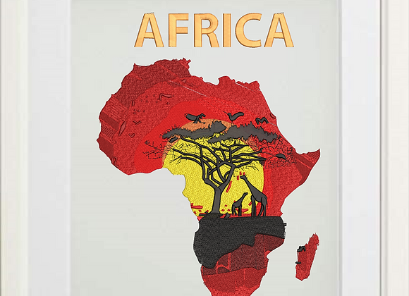 Machine Embroidered Art Map of African