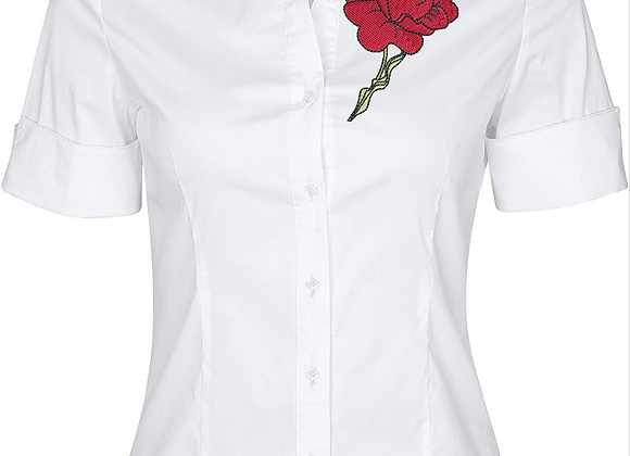 Woman Blouse Machine Embroidery-Red Rose design