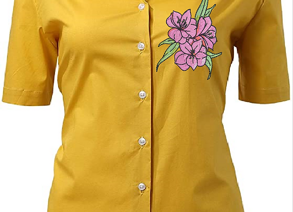 Woman blouse Machine Embroidered -Branch of Flowers design.