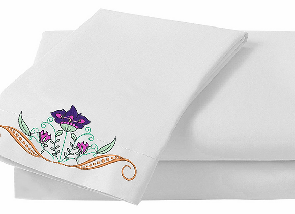Machine Embroidered Bed-sheet design-Crown of Flowers design