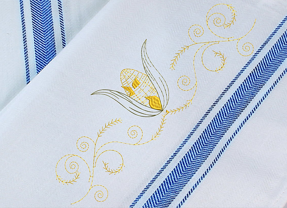 Kitchen Napkin-Fall Lines with corn Machine Embroidered design