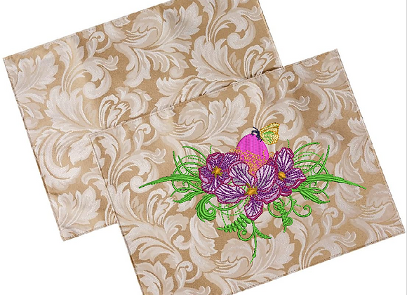 Machine Embroidered Table Napkin-Apple Flowers design