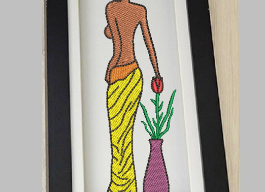 African woman Machine Embroidery design