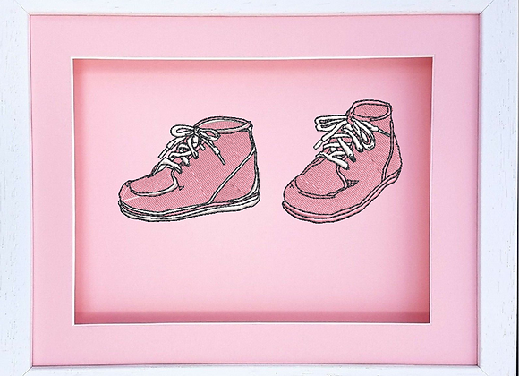 3D Baby Framed Shoes Machine Embroidered design