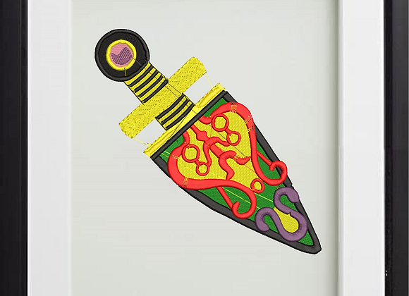 Machine Embroidered Art  African dagger