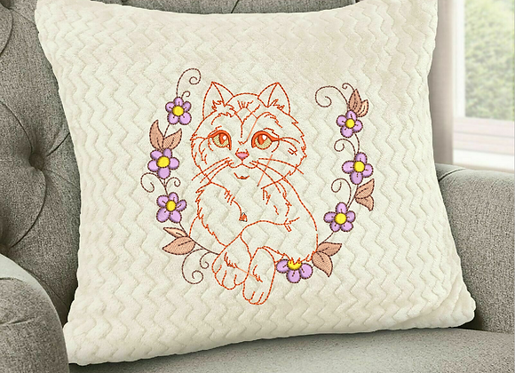 Machine Embroidery design of Cats and Flowers