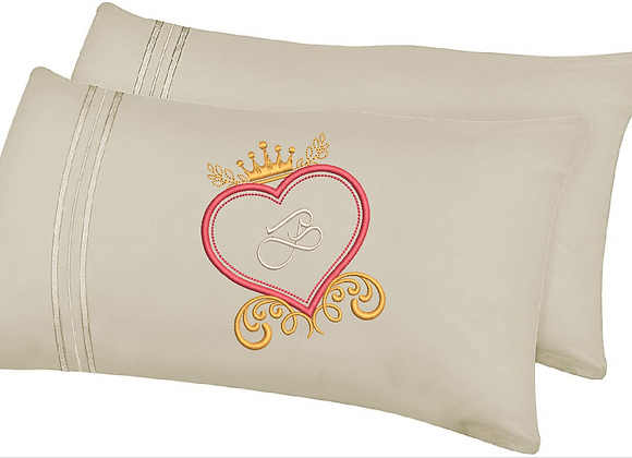 Machine Embroidered Personalised Initial Pillowcases