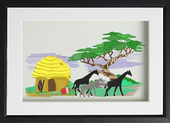 African safari Machine Embroidered village Art