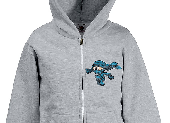 Machine Embroidery boys Hoodie- blue Ninja