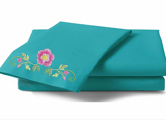 Machine-Embroidered  Bed-sheet set- Giga Frame of Flowers
