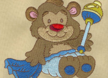 Machine Embroidered design of Baby Bear
