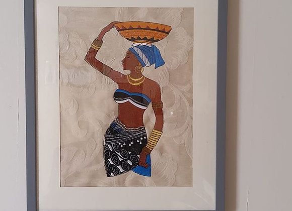 Machine Embroidered Art African Woman