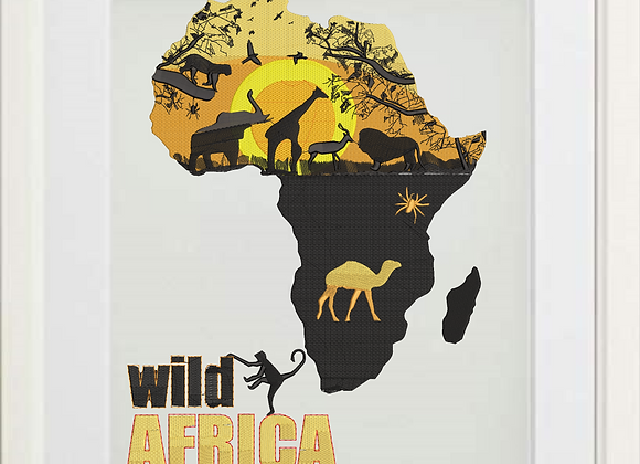 Wild Africa Machine Embroidered Artwork