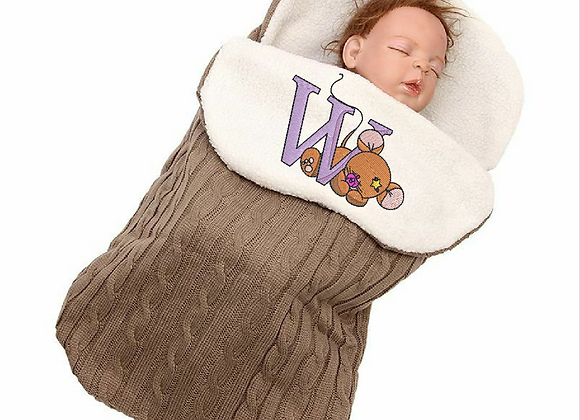 Machine Embroidered Baby Hooded swaddle design
