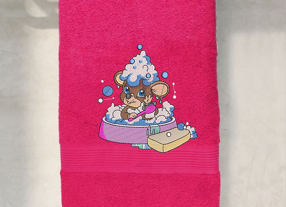 Machine Embroider bath towel of Mouse Shower