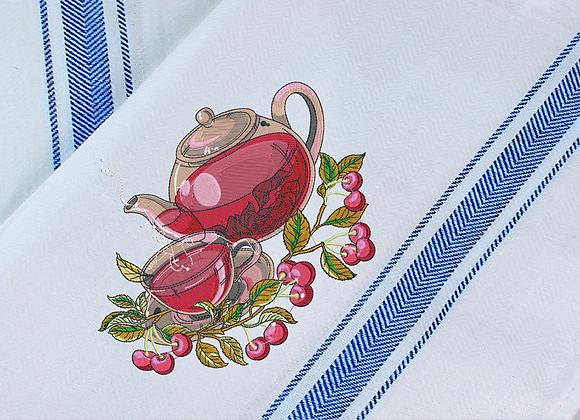 Tea Towel Machine Embroidery -Fruit Tea design