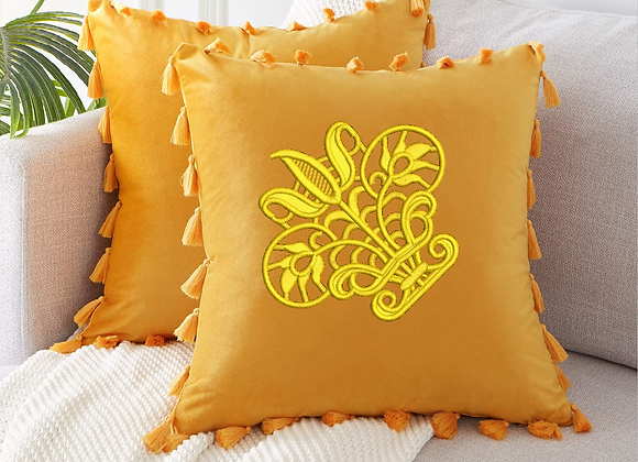 Embroidered Cushion Cover Crown pattern