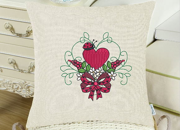 Cushion cover Machine Embroidery Ladybug design design Love