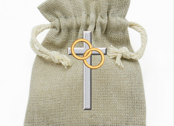 Machine Embroidered pouch bag Ring 'n' cross
