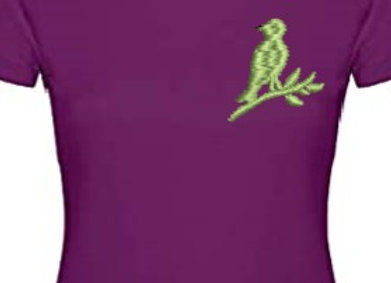 Machine Embroidered women T-Shirt-Sing Bird