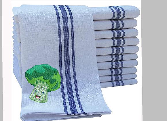 Kitchen Towel Machine Embroidery of Happy Veggies design