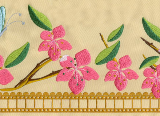 Machine Embroidered design of Apple Blossoms