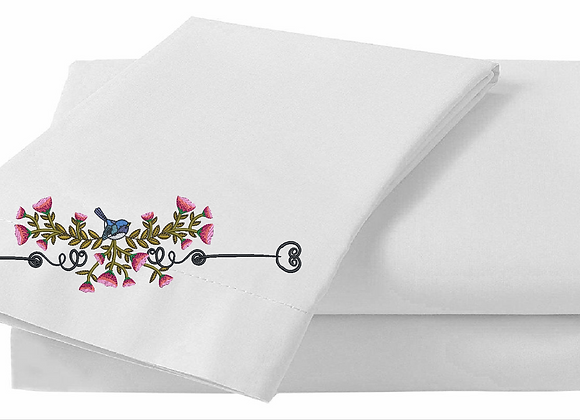 Pillowcase with Bed-sheet Machine Embroidered-Arrow of Flowers design