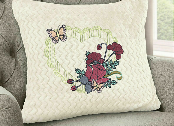 Heart-framed Flowers Machine Embroidery design