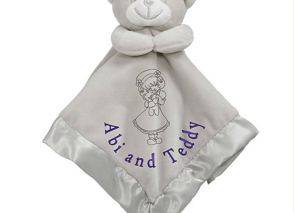 Baby Comforter Security Blanket Machine Embroidered design