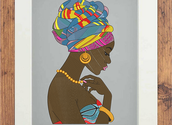 Machine Embroidery Art African Woman