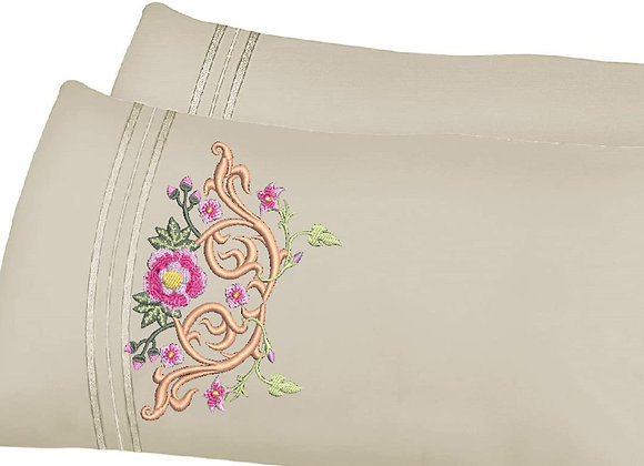 Pillowcase Machine Embroidery Giga Frame Flowers design