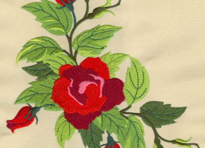 Machine Embroidered Pillowcase of Painted Rose